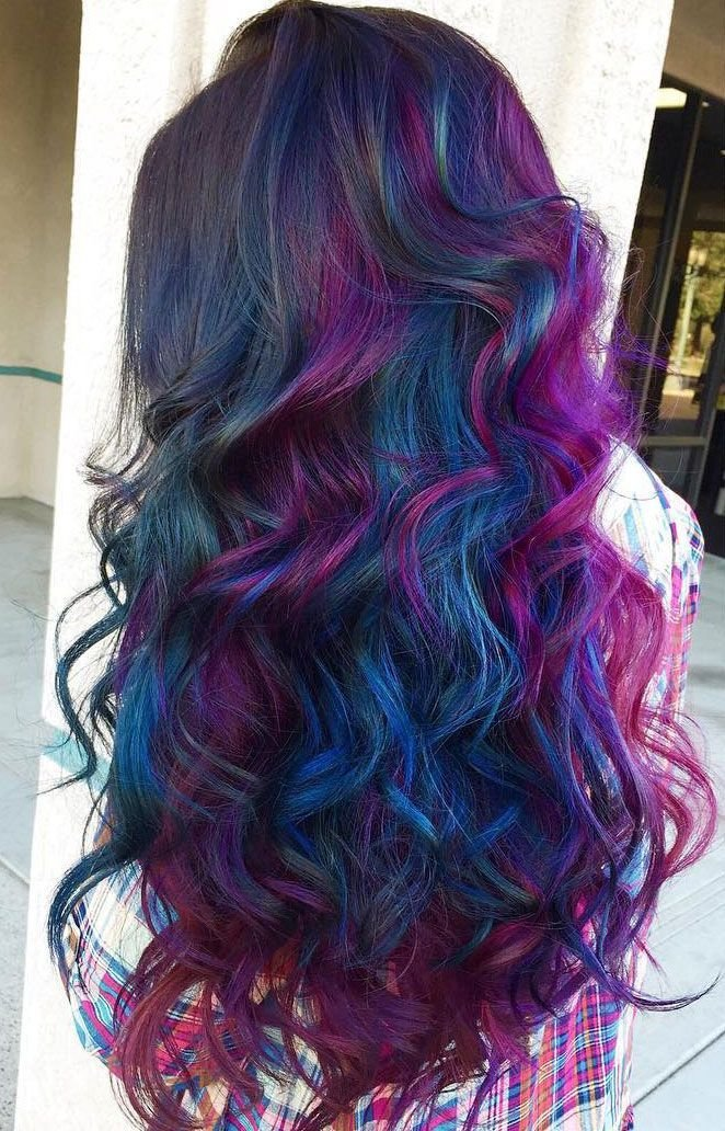 The Best 10 Best Examples Of The Oilslick Hair Color Trend Make Pictures
