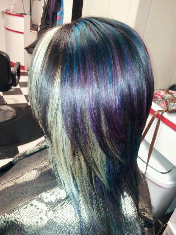 The Best Blue Purple And Blonde Highlight In A Dark Brown Base Pictures