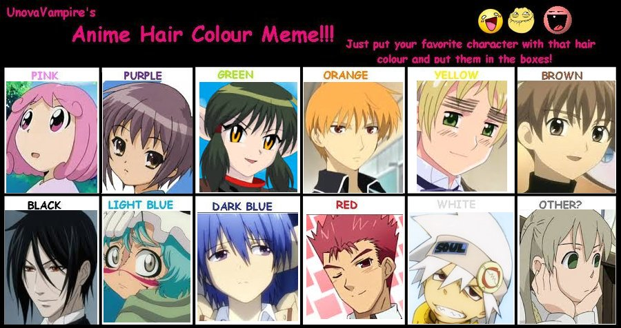 The Best Anime Hair Color Meme By Candycraver123 On Deviantart Pictures