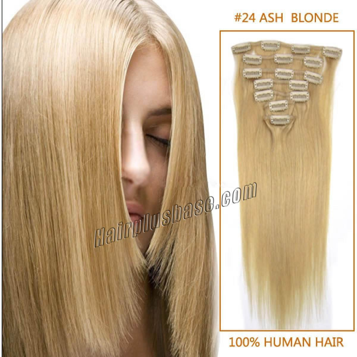 The Best 24 Inch 24 Ash Blonde Clip In Remy Human Hair Extensions Pictures