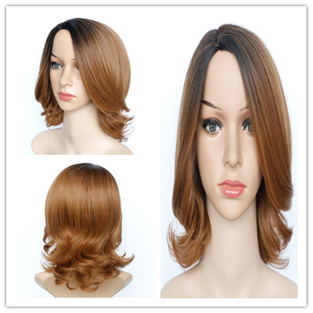 The Best Graceful Medium Fluffy Mixed Color Wavy Side Parting Pictures