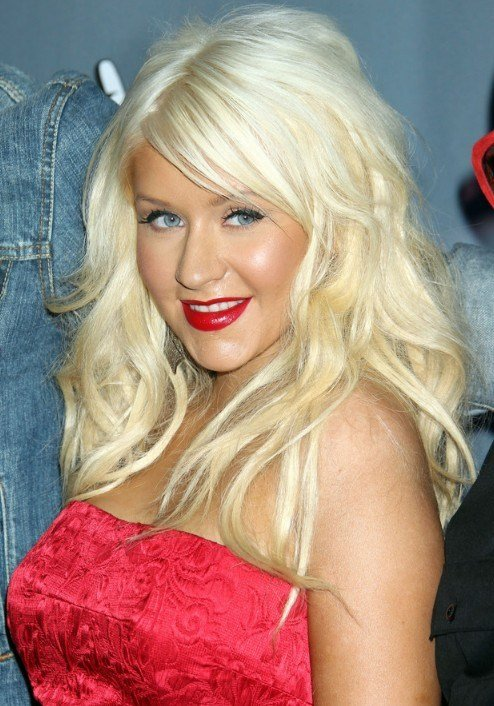 The Best Christina Aguilera Long Blonde Wavy Hairstyle With Bangs Pictures