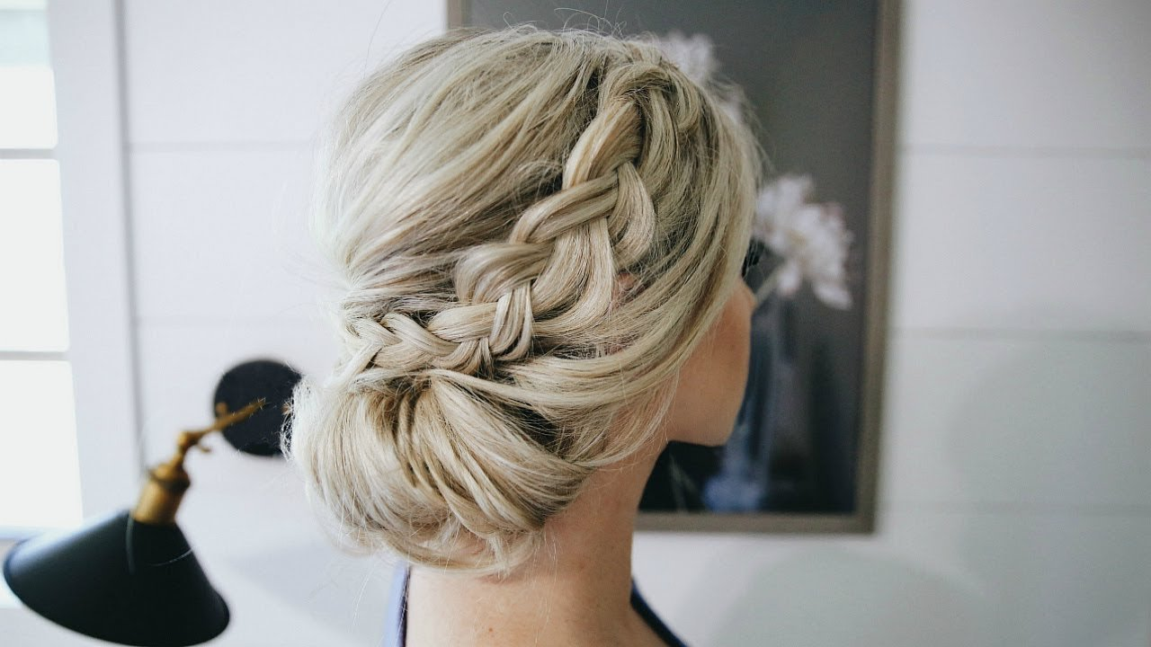 The Best Fancy Braided Bun Updo Simple Steps Youtube Pictures