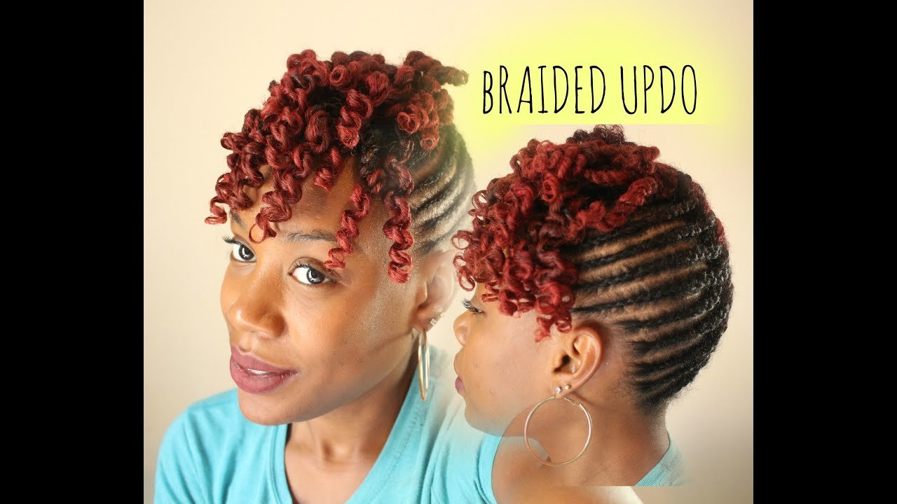 The Best Natural Hair Braided Updo With Curly Bang Youtube Pictures