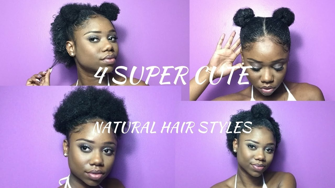The Best Super Cute Hairstyles For Short Natural Hair Half Up Space Bun High Puff Double Top Knot Pictures