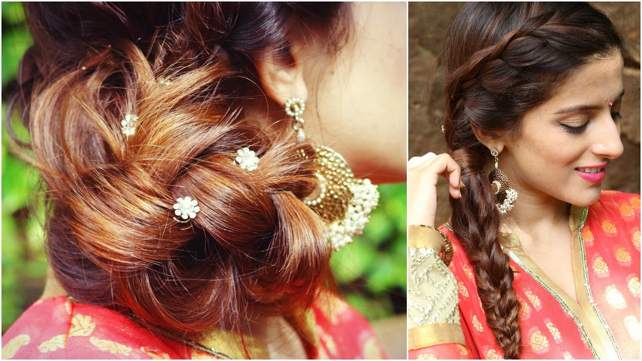 The Best 3 Indian Hairstyles For Medium To Long Hair Indian Wedding Hairstyles For Medium Hair Youtube Pictures