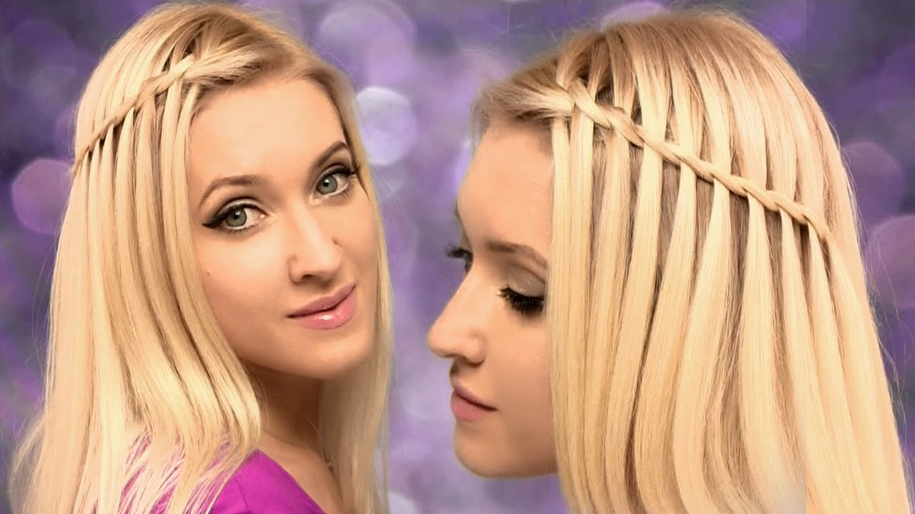 The Best Waterfall Braid Hairstyle For Medium Long Hair Tutorial Back To School For Beginners On Pictures