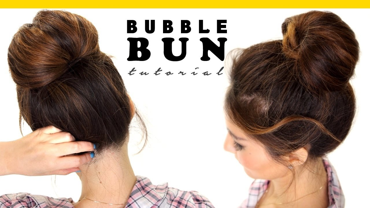 The Best 2 Minute Bubble Bun Hairstyle Easy Hairstyles For Medium Pictures