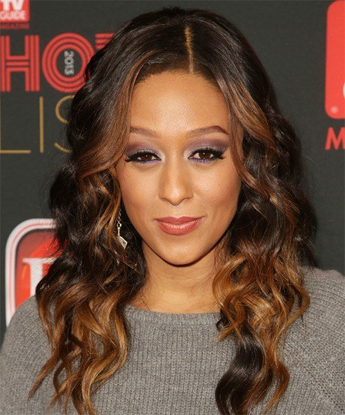 The Best Tia Mowry Casual Long Wavy Hairstyle Dark Auburn Pictures