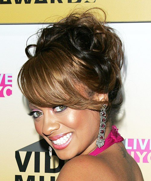 The Best La La Anthony Formal Long Curly Updo Hairstyle Pictures