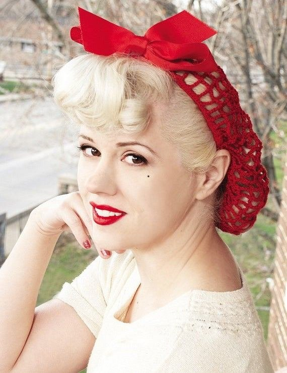 The Best Vintage Retropinup Hair Snood In Warm Red Crocheted From Pictures