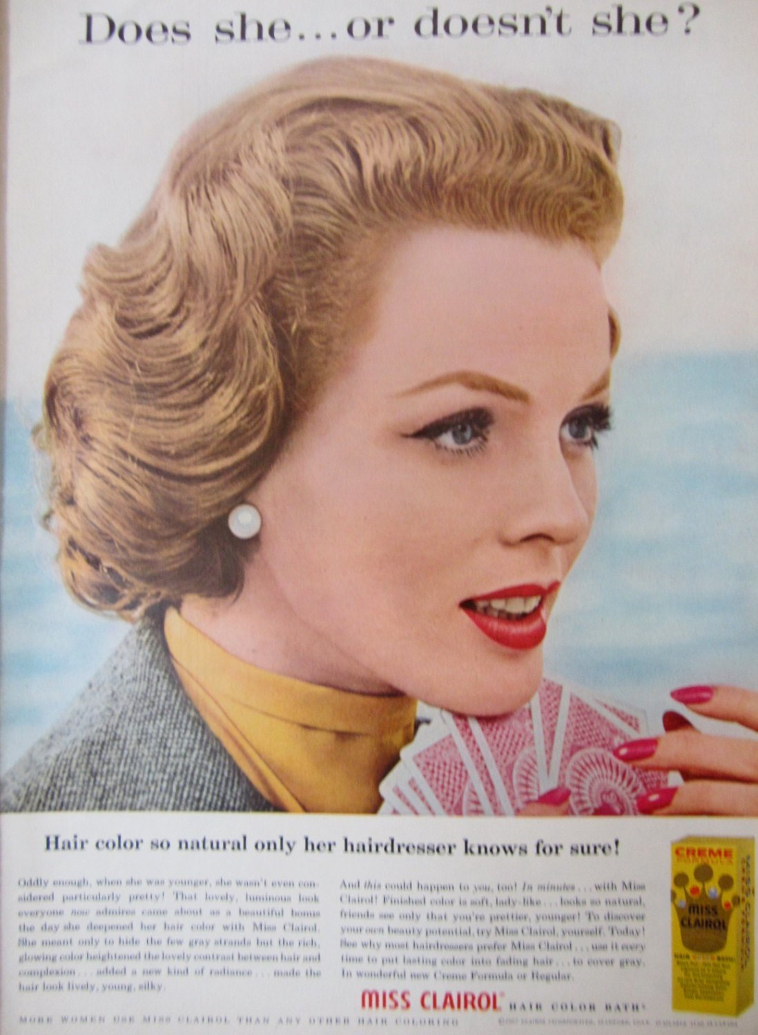 The Best 1957 Miss Clairol Hair Color Vintage Advertisement Bathroom Pictures