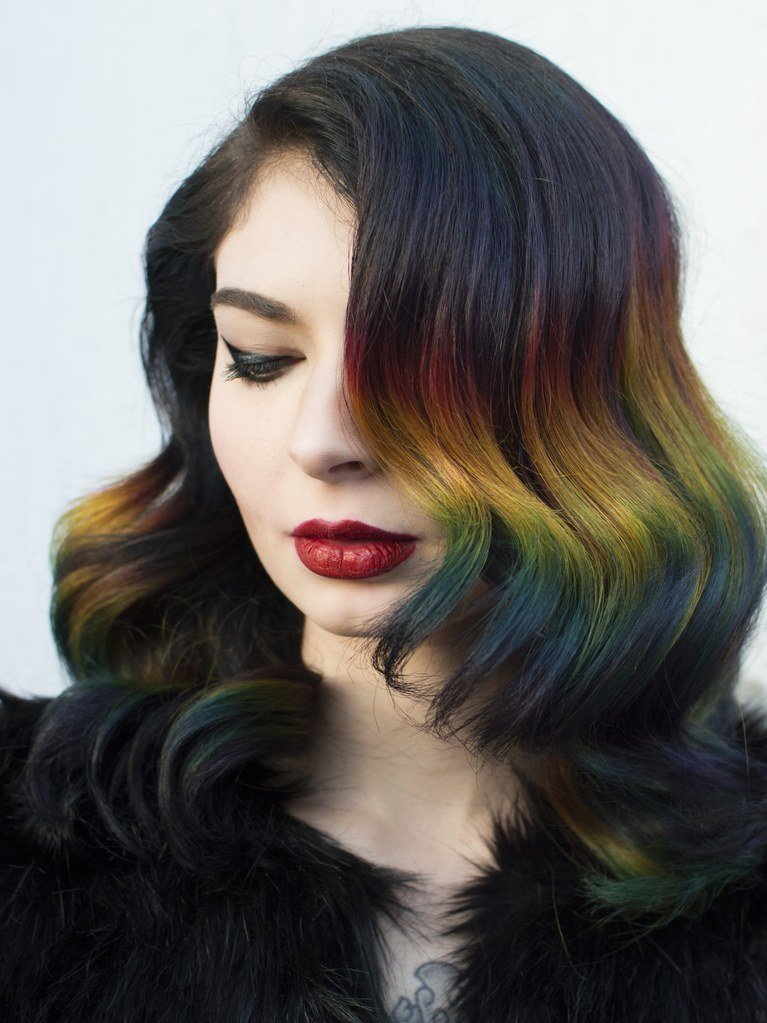 The Best Rainbow Ombré Hair Color Technique With Brunette Roots Pictures