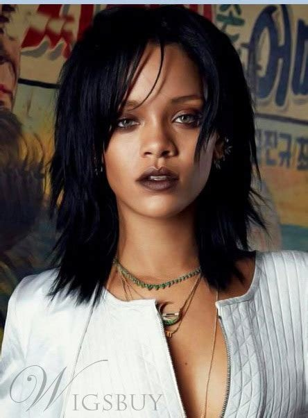 The Best Rihanna Medium Straight Layered Capless Human Hair Wigs 14 Inches Wigsbuy Com Pictures