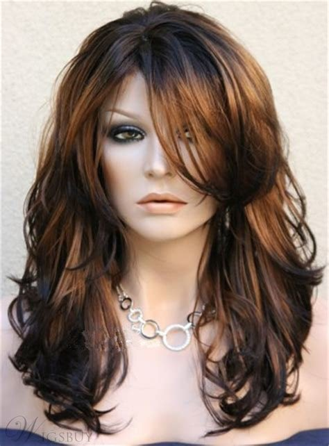 The Best Long Layered Wavy Side Swept Fringes Hairstyle Synthetic Pictures
