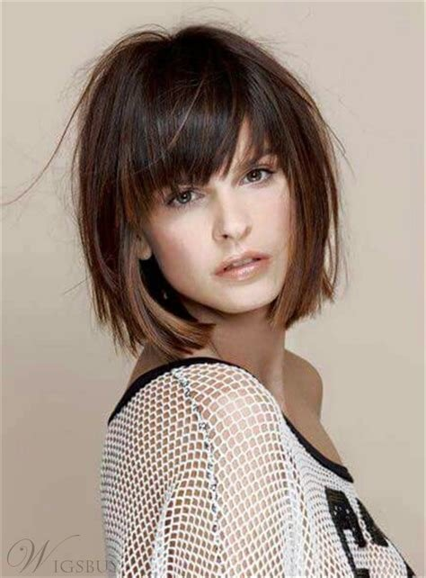The Best Short Straight Bob With Bangs Human Hair Capless Wig 10 Pictures
