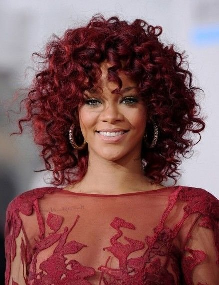 The Best Rihanna Medium Length Red Curly Hairstyle Spiral Curls Curly Hair And Medium Lengths Pictures
