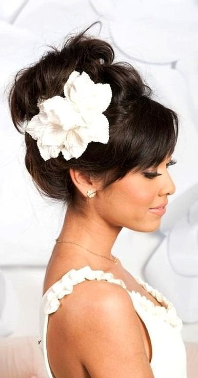 The Best High Looped Updo With Bangs Flower Wedding Hair Pictures