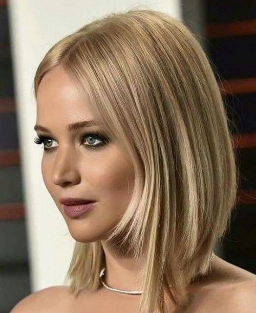 The Best 2017 Jennifer Lawrence Symmetrical Layered Bob Hairstyles Pictures