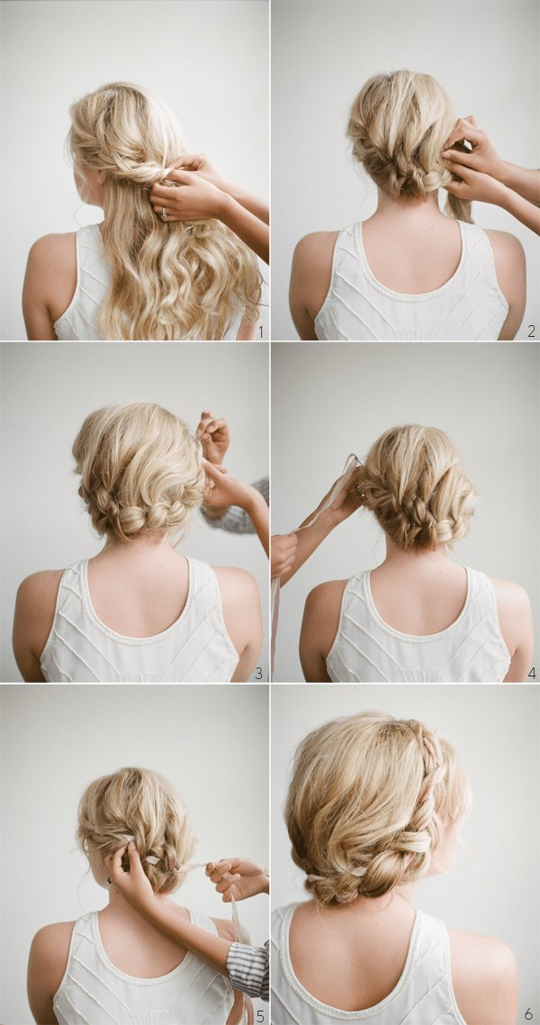 The Best Diy Halo Braid Tutorial With Frou Frou Ribbon Once Wed Pictures