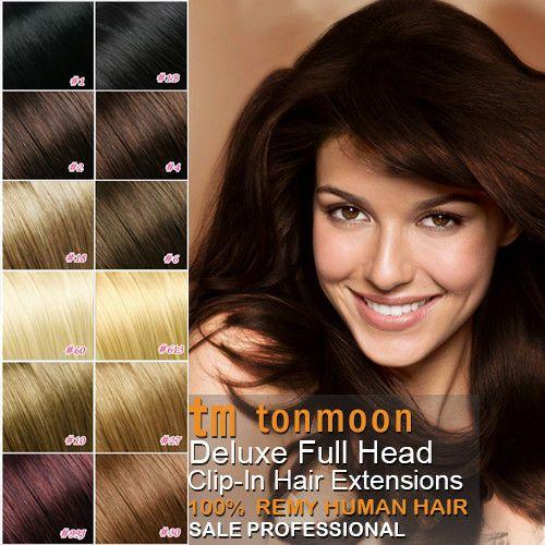 The Best 100 Real Human Hair Full Head Clip In Remy Hair Extensions Ebay Pictures