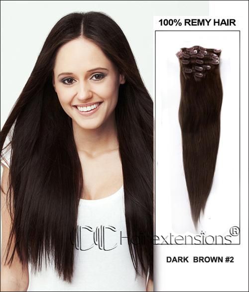 The Best 22 Inch Dark Brown 2 Clip In Hair Extensions 160G Pictures