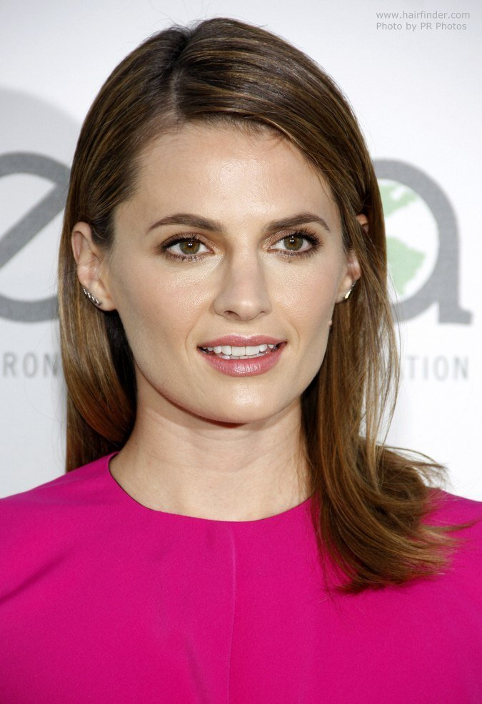 The Best Stana Katic With Her Hair In A Simple Yet Elegant Straight Style Pictures
