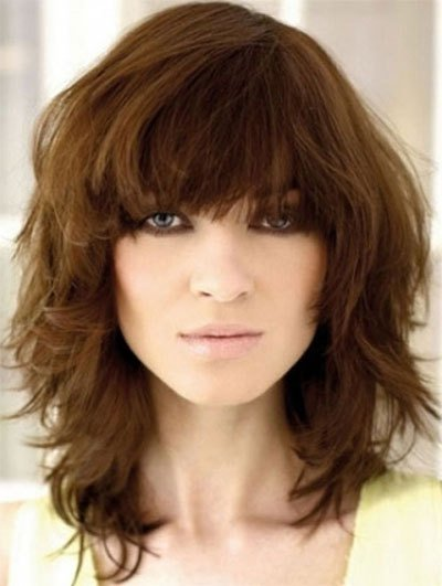 The Best 25 Modern Medium Length Haircuts With Bangs Layers For Thick Hair Round Faces 2014 Pictures