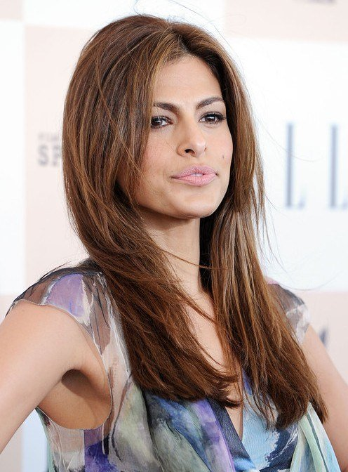 The Best Eva Mendes Easy Long Layered Hairstyle For Straight Hair Pictures