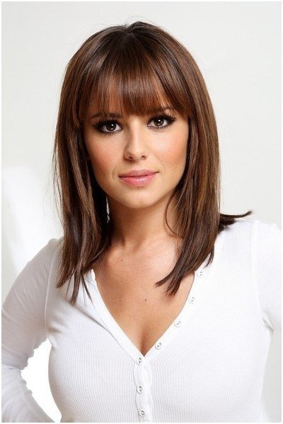 The Best Straight Medium Hairstyles Blunt Piecy Bangs Popular Pictures