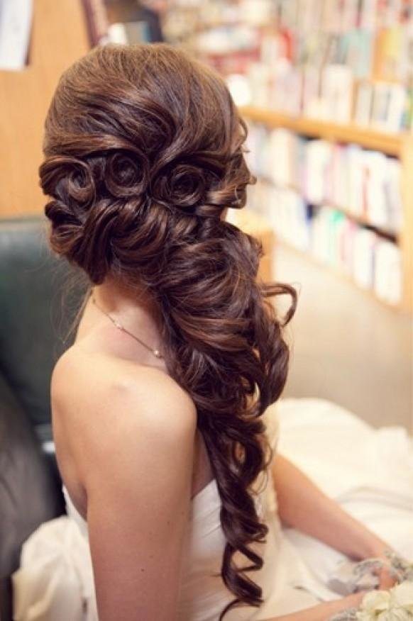 The Best Gorgeous Long Wedding Hairstyle ♥ Wavy Long And Side Swept Hairstyle 804053 Weddbook Pictures