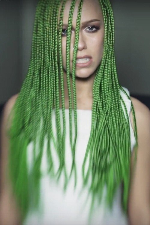 The Best Jenna Mcdougall Straight Green Angled Mini Braids Uneven Pictures