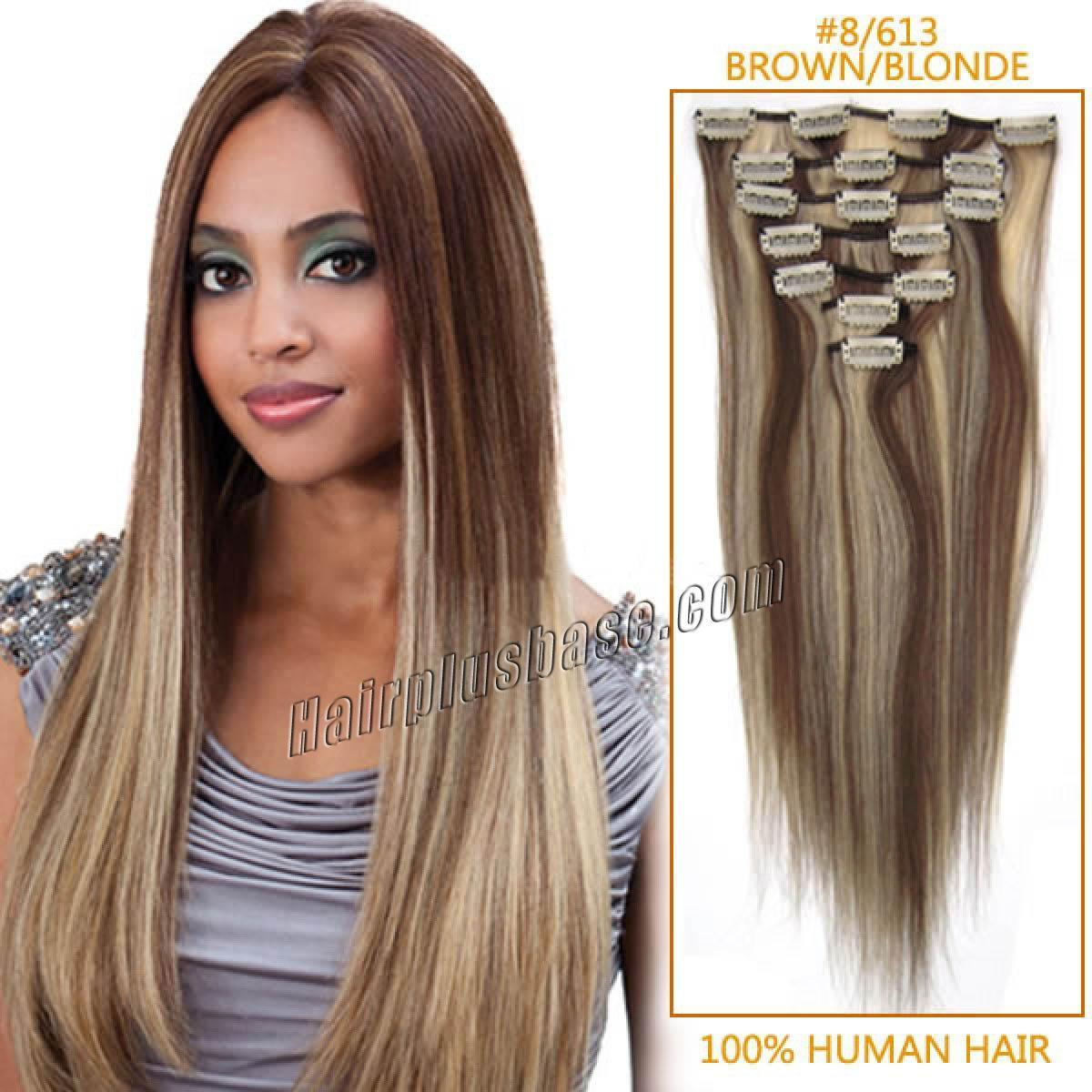 The Best 30 Inch 8 613 Brown Blonde Clip In Human Hair Extensions 8Pcs Pictures