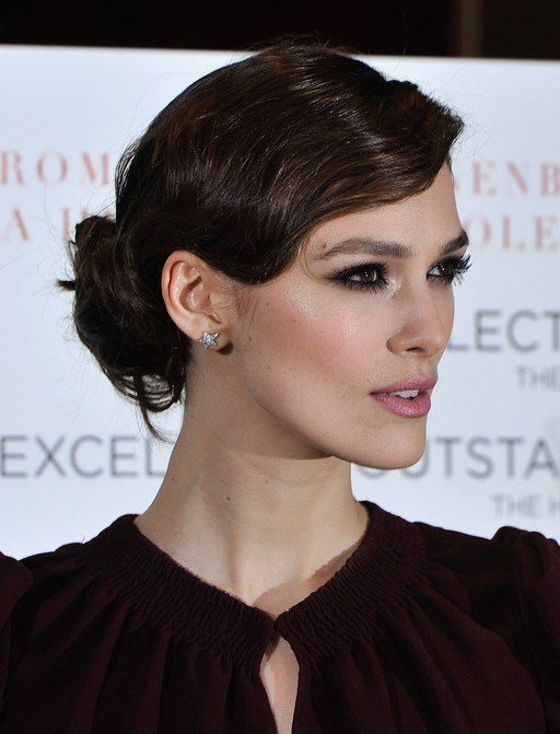 The Best Keira Knightley Finger Wave Loose Bun Updo For Wavy Hair Pictures