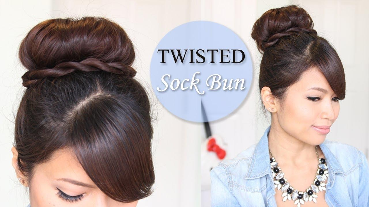 The Best Twisted Sock Bun Updo Hairstyle Long Hair Tutorial Youtube Pictures