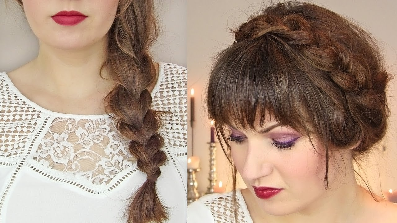 The Best Cute Hairstyles For Thin Hair Thick Braid Milkmaid Updo Pictures