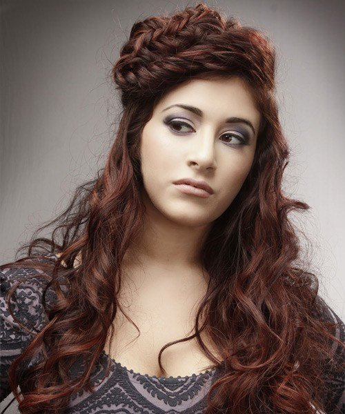 The Best Long Curly Alternative Braided Updo Hairstyle Auburn Pictures