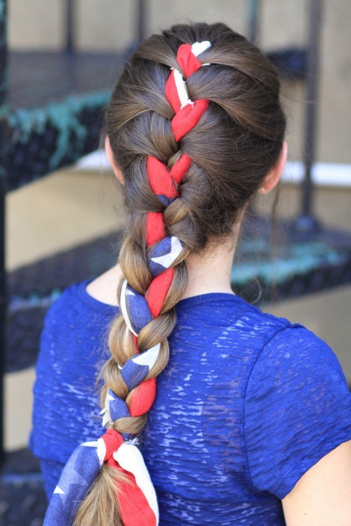 The Best 3 Minute Scarf Braid 4Th Of July Hairstyles Cute Girls Pictures