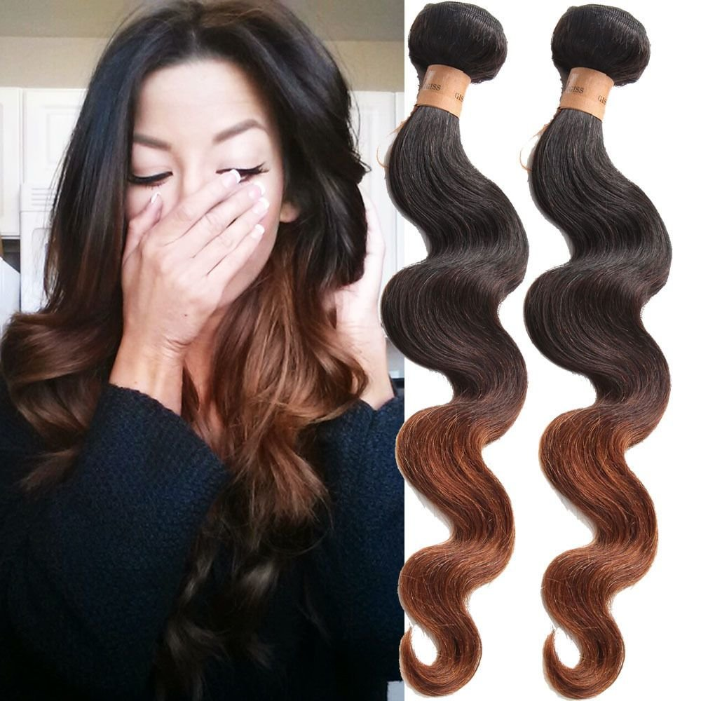 The Best Body Wave Human Hair Weft Extension Color 1B 4 30 3Tone Pictures