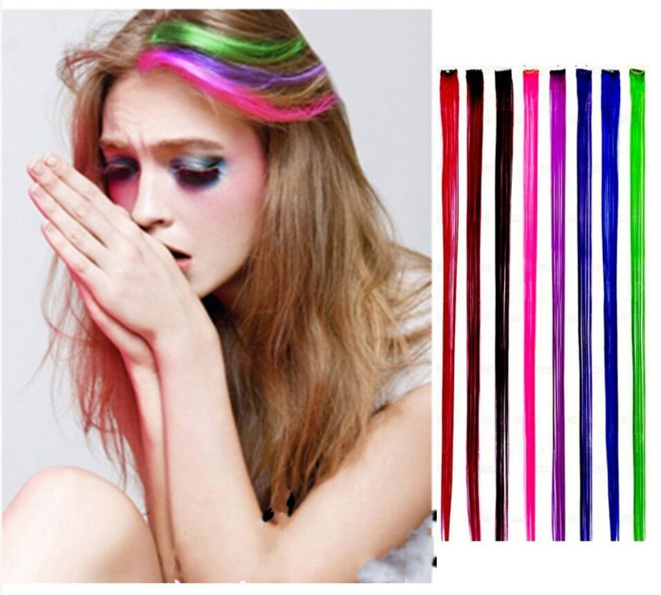 The Best New 24 Colored Colorful Clip On In Hair Extension Fake Pictures