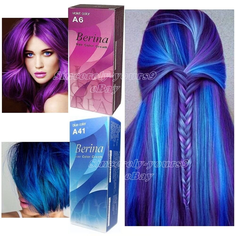 The Best Berina A6 A41 Hair Color Violet Bule Permanent Hair Dry Pictures