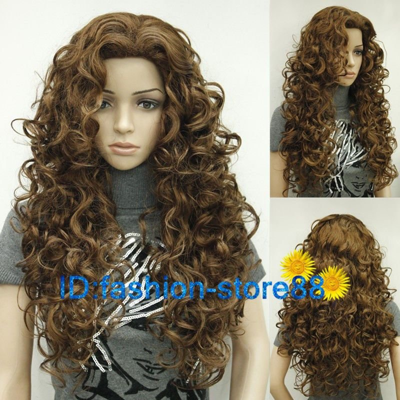 The Best 2017 New Ladies Fashion Long Curly Brown Natural Hair Women S Wigs Wig Cap Ebay Pictures