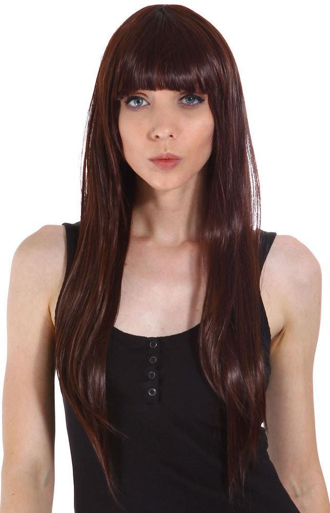 The Best Women S Long Straight Full Bangs Hair Wig Cosplay Wigs Dark Brown With Wig Cap Ebay Pictures