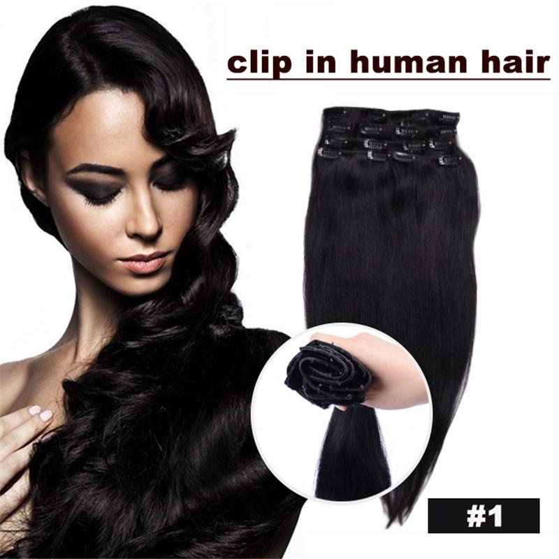 The Best Cheap 100 Clip In Human Hair Extensions Color 1 Black Pictures