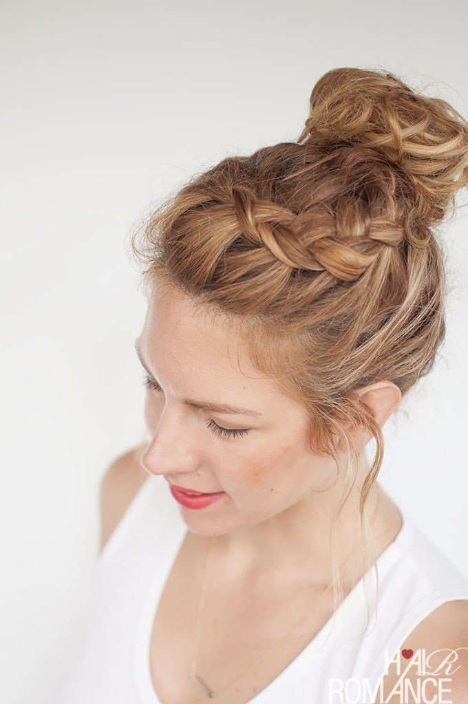 The Best Everyday Curly Hairstyles Curly Braided Top Knot Pictures