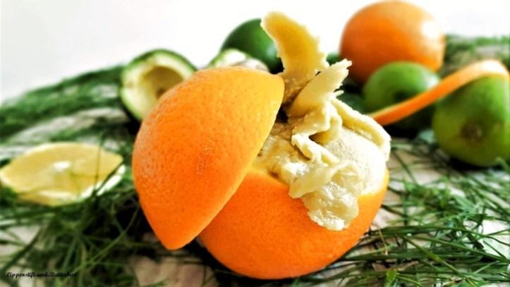 Orangeneis aus der Eismaschine Kurt