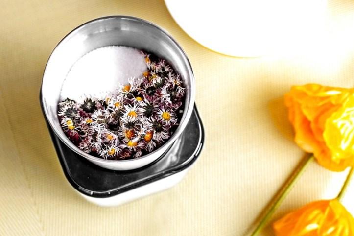 getrocknete Gaensebluemchen und Zucker in elektrischer Muehle von rommelsbacher