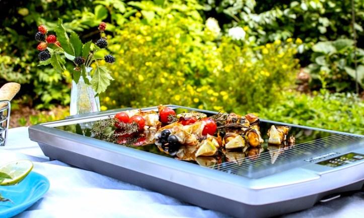 Rommelsbacher Ceran Grill Made in German mit Meeresfruechte Spiessen im Garten