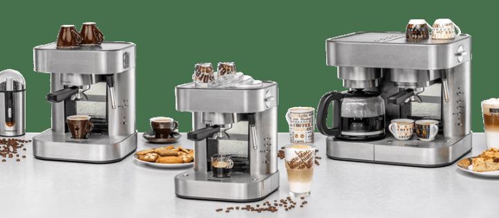 Drei Espressomaschinen von Rommelsbacher. EKS Serie Edelstahl.