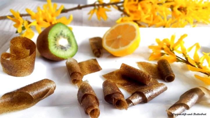 Fruchtleder gerollt, selbstgemacht aus Kiwi